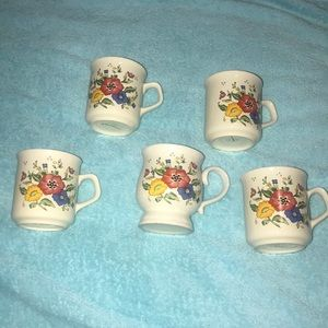 5 Korean hand painted mugs